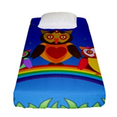Owls Rainbow Animals Birds Nature Fitted Sheet (single Size) by Amaryn4rt