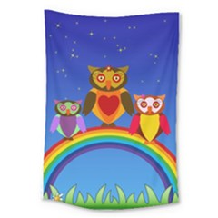 Owls Rainbow Animals Birds Nature Large Tapestry
