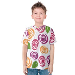 Colorful Seamless Floral Flowers Pattern Wallpaper Background Kids  Cotton Tee by Amaryn4rt