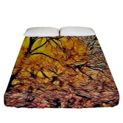 Summer Sun Set Fractal Forest Background Fitted Sheet (king Size) by Amaryn4rt
