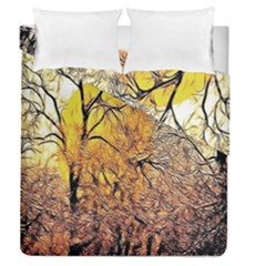 Summer Sun Set Fractal Forest Background Duvet Cover Double Side (queen Size) by Amaryn4rt