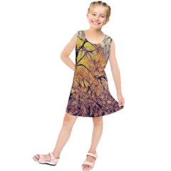Summer Sun Set Fractal Forest Background Kids  Tunic Dress by Amaryn4rt