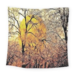 Summer Sun Set Fractal Forest Background Square Tapestry (large) by Amaryn4rt
