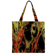 Artistic Effect Fractal Forest Background Zipper Grocery Tote Bag by Amaryn4rt