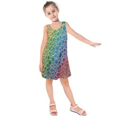 Bubbles Rainbow Colourful Colors Kids  Sleeveless Dress by Amaryn4rt