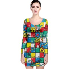 Snakes And Ladders Long Sleeve Velvet Bodycon Dress