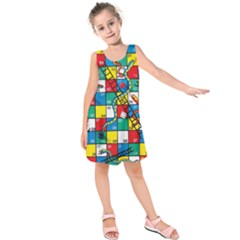 Snakes And Ladders Kids  Sleeveless Dress by Amaryn4rt