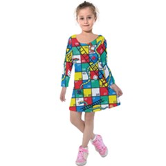 Snakes And Ladders Kids  Long Sleeve Velvet Dress
