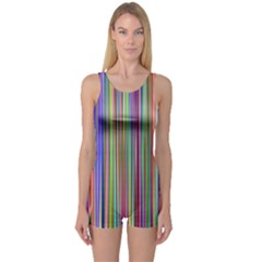 Striped Stripes Abstract Geometric One Piece Boyleg Swimsuit