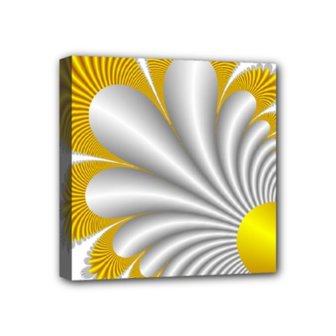 Fractal Gold Palm Tree  Mini Canvas 4  X 4