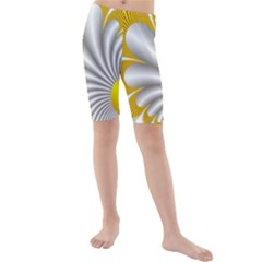 Fractal Gold Palm Tree  Kids  Mid Length Swim Shorts