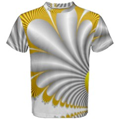 Fractal Gold Palm Tree  Men s Cotton Tee