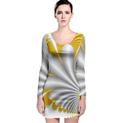 Fractal Gold Palm Tree  Long Sleeve Bodycon Dress