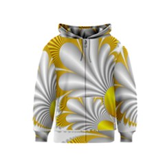 Fractal Gold Palm Tree  Kids  Zipper Hoodie