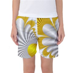 Fractal Gold Palm Tree  Women s Basketball Shorts