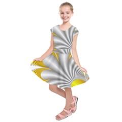 Fractal Gold Palm Tree  Kids  Short Sleeve Dress
