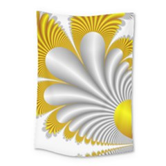 Fractal Gold Palm Tree  Small Tapestry