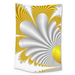 Fractal Gold Palm Tree  Large Tapestry by Amaryn4rt