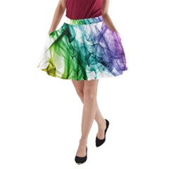 Colour Smoke Rainbow Color Design A Line Pocket Skirt by Amaryn4rt