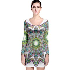 Decorative Ornamental Design Long Sleeve Bodycon Dress