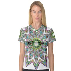Decorative Ornamental Design Women s V Neck Sport Mesh Tee