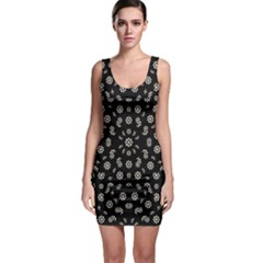 Dark Ditsy Floral Pattern Sleeveless Bodycon Dress by dflcprintsclothing