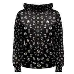 Dark Ditsy Floral Pattern Women s Pullover Hoodie by dflcprintsclothing