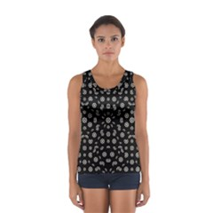 Dark Ditsy Floral Pattern Women s Sport Tank Top  by dflcprintsclothing