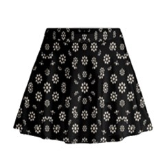 Dark Ditsy Floral Pattern Mini Flare Skirt by dflcprintsclothing