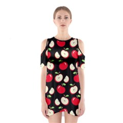 Apple Pattern Shoulder Cutout One Piece
