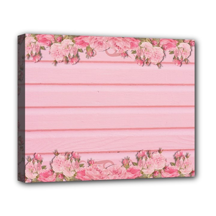 Pink Peony Outline Romantic Deluxe Canvas 20  x 16