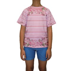 Pink Peony Outline Romantic Kids  Short Sleeve Swimwear by Simbadda