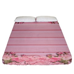 Pink Peony Outline Romantic Fitted Sheet (california King Size) by Simbadda