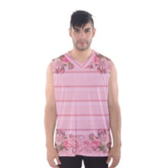 Pink Peony Outline Romantic Men s Basketball Tank Top