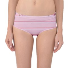 Pink Peony Outline Romantic Mid-waist Bikini Bottoms by Simbadda