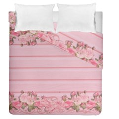 Pink Peony Outline Romantic Duvet Cover Double Side (queen Size) by Simbadda