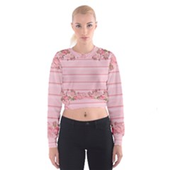 Pink Peony Outline Romantic Women s Cropped Sweatshirt