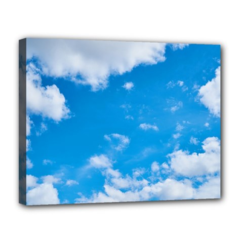 Sky Blue Clouds Nature Amazing Canvas 14  X 11  by Simbadda