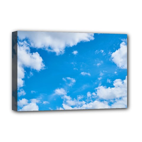 Sky Blue Clouds Nature Amazing Deluxe Canvas 18  X 12   by Simbadda
