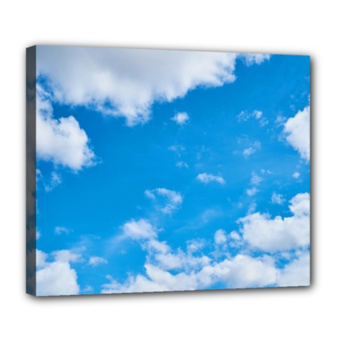 Sky Blue Clouds Nature Amazing Deluxe Canvas 24  X 20   by Simbadda