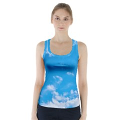 Sky Blue Clouds Nature Amazing Racer Back Sports Top by Simbadda