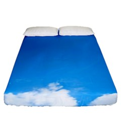 Sky Clouds Blue White Weather Air Fitted Sheet (queen Size) by Simbadda