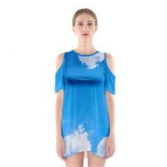 Sky Clouds Blue White Weather Air Shoulder Cutout One Piece by Simbadda