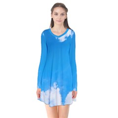 Sky Clouds Blue White Weather Air Flare Dress by Simbadda