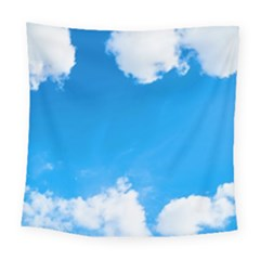 Sky Clouds Blue White Weather Air Square Tapestry (large) by Simbadda