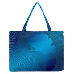Fractals Lines Wave Pattern Medium Zipper Tote Bag by Simbadda