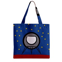 A Rocket Ship Sits On A Red Planet With Gold Stars In The Background Zipper Grocery Tote Bag by Simbadda