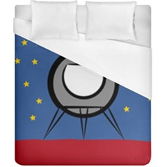 A Rocket Ship Sits On A Red Planet With Gold Stars In The Background Duvet Cover (california King Size) by Simbadda