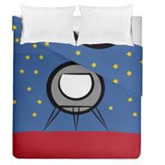 A Rocket Ship Sits On A Red Planet With Gold Stars In The Background Duvet Cover Double Side (queen Size) by Simbadda
