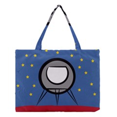 A Rocket Ship Sits On A Red Planet With Gold Stars In The Background Medium Tote Bag by Simbadda